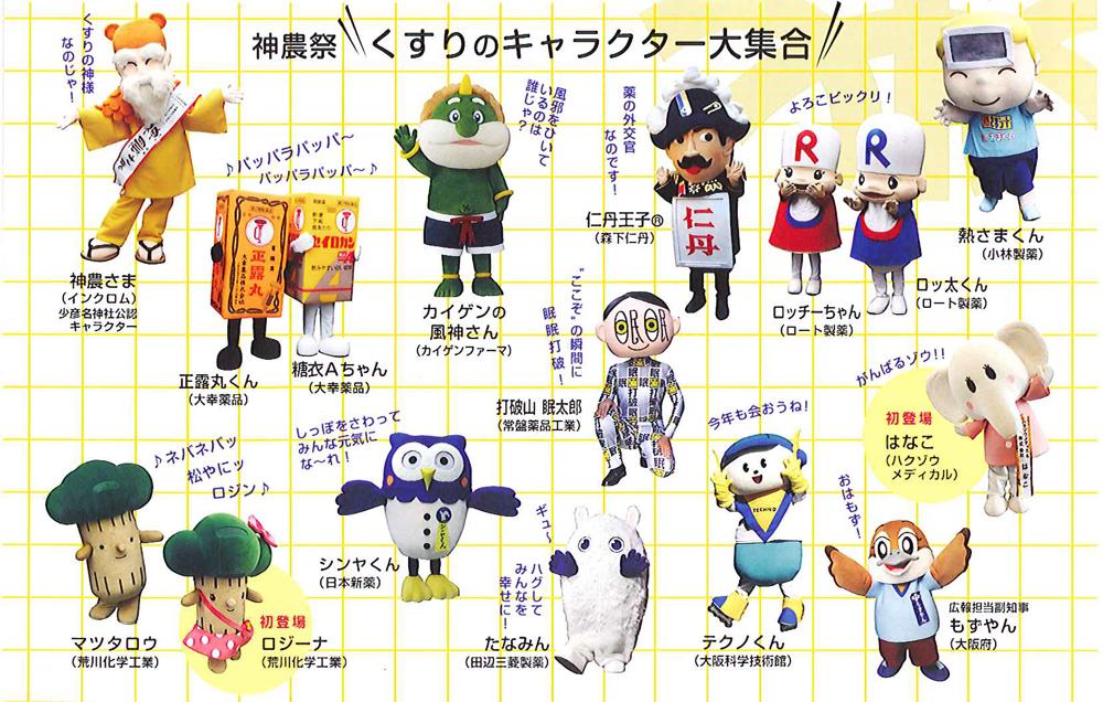 神農祭 くすりのキャラクター大集合の画像